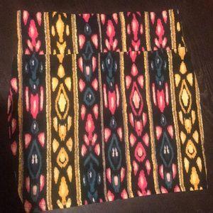 Tribal print knit mini skirt